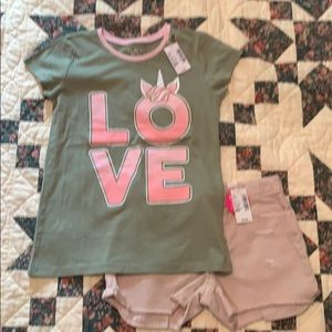 """Olive """"Love"""" T-shirt and Distressed Pink Shorts"""